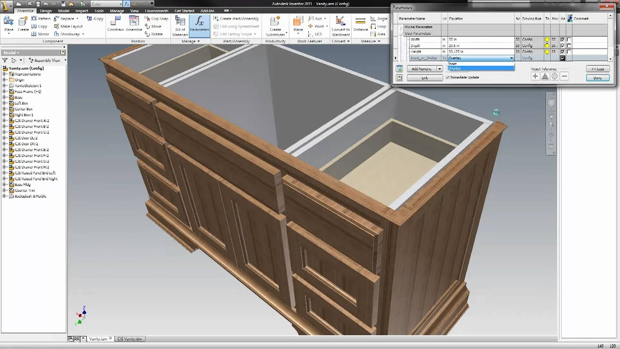 Erp Enabled Woodworking Cabinetmaking With Autodesk Inventor And Ilogic Youtube