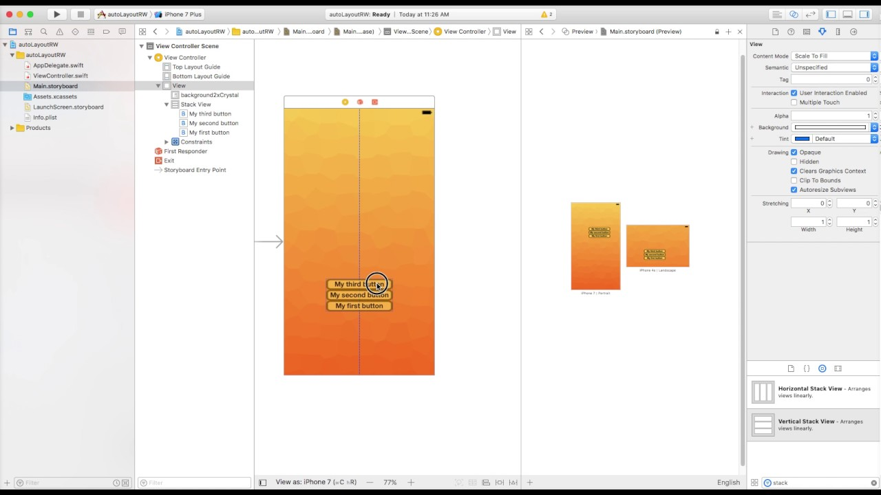 Background image xcode storyboard - Adding Constraints To A Stack View Swift 3 Xcode 8 1