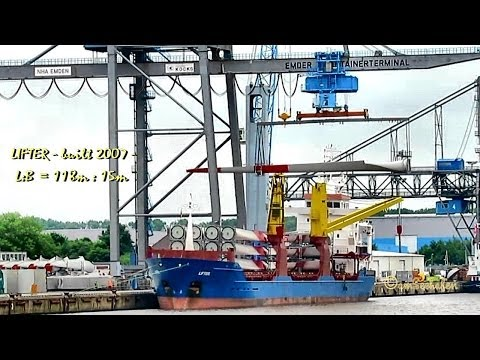 LIFTER V2DD4 IMO 9414199 cargo seaship merchant vessel disembarking giant windcraft blades Emden