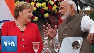 Merkel Meets Modi at Indian PM's Residence in New Delhi