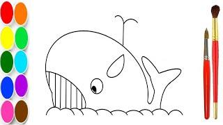 Морское животное КИТ для малышей / Раскраски мультик для детей / Детская Комната РАСКРАСКИ