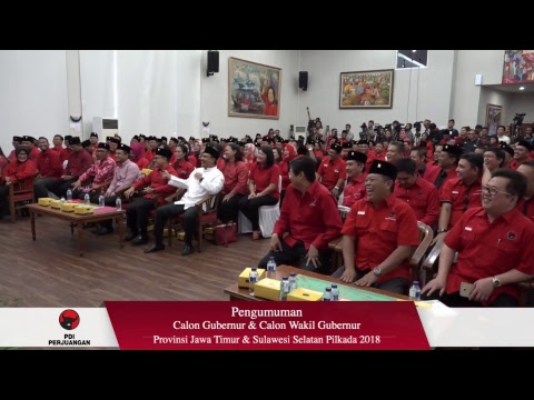 Pengumuman Pasangan Calon Gubernur & Wakil Gubernur Jatim - Sulsel PDI Perjuangan Live Stream