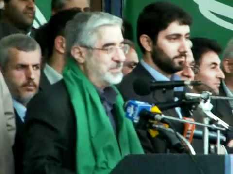 Mir Hossein Musavi speaking Azeri Turkish among the people of Tabriz
