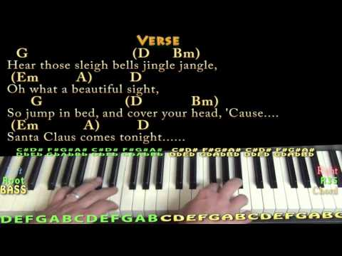 Here Comes Santa Claus (Elvis) Piano Lesson Chord Chart in D with On-Screen Lyrics