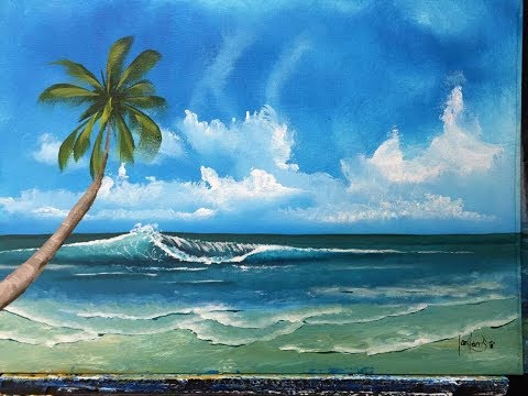 How to paint the ocean with a palm for beginners (ACRYLIC)