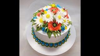 оформление торта БЗК цветы ( Маки, ромашки и васельки из БЗК )