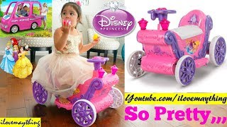 Disney Princess Carriage Ride-On Toy. 6 Volts Power Wheels for Toddlers. Barbie Dream Camper