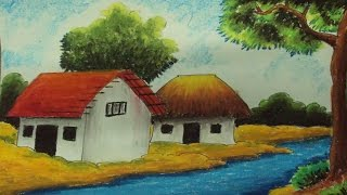 How to Draw a Village Landscape with Oil Pastels | Episode-3