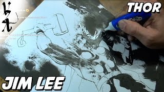 Jim Lee drawing Thor as a tribute to Stan Lee