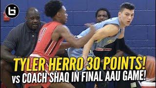 HS seasons Tyler Herro Scores 30 in Final AAU Game vs Coach Shaq! Full Highlights!