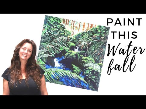 Waterfall Painting / Acrylics For Beginners (Painting Time Lapse Video)