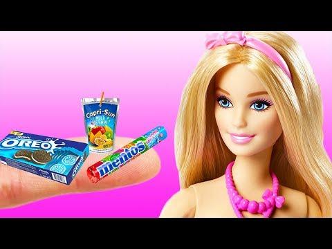 12 DIY Barbie Hacks : Mini food, School supplies and more Miniature Barbie Crafts