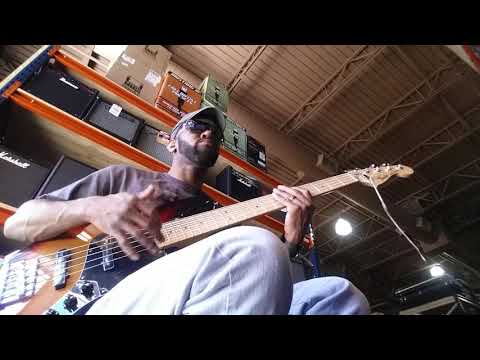 Sam Johnson the bass player in Tampa music store  pt1