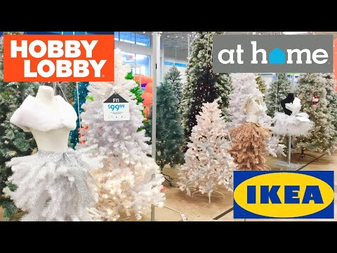 HOBBY LOBBY AT HOME IKEA CHRISTMAS DECORATIONS TREES DECOR SHOP WITH ME SHOPPING STORE WALK THROUGH