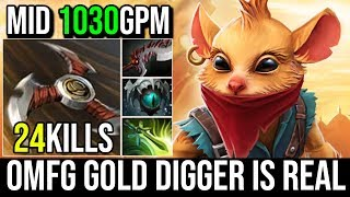 Gold Digger is Real 1030GPM - Epic Pro Mid BH Most IMBA Hero in 7.20 By Fy 24KIlls Crazy Farm Dota 2