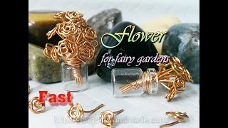 Flower bouquets in small glass jar to decorate fairy gardens - Fast version 346
