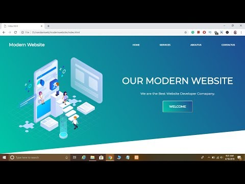 How To Create Modern Website Using HTML CSS In HINDI 2019 [with SOURCE CODE]