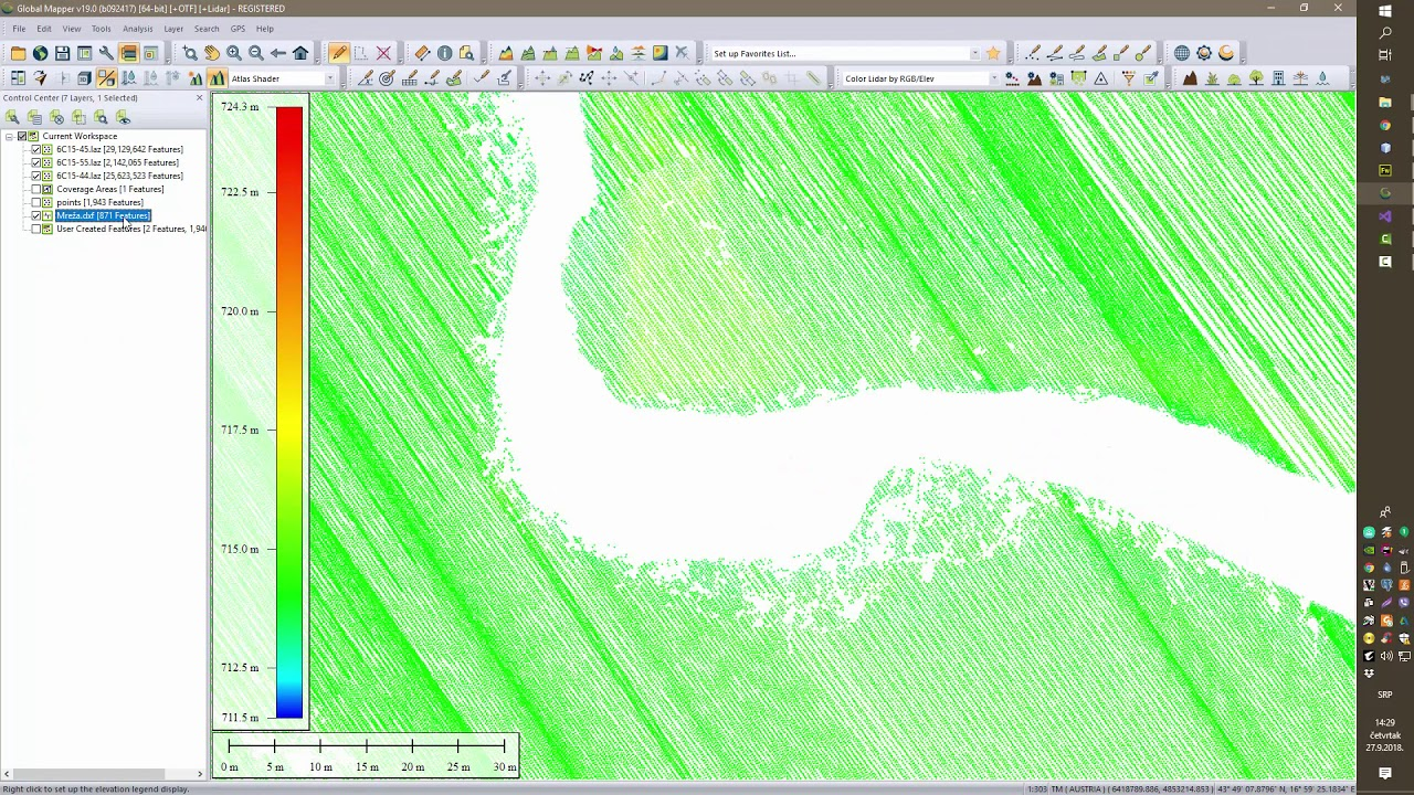 Interpolation of the river bottom between two surveyed cross sections and hybrid DTM generation
