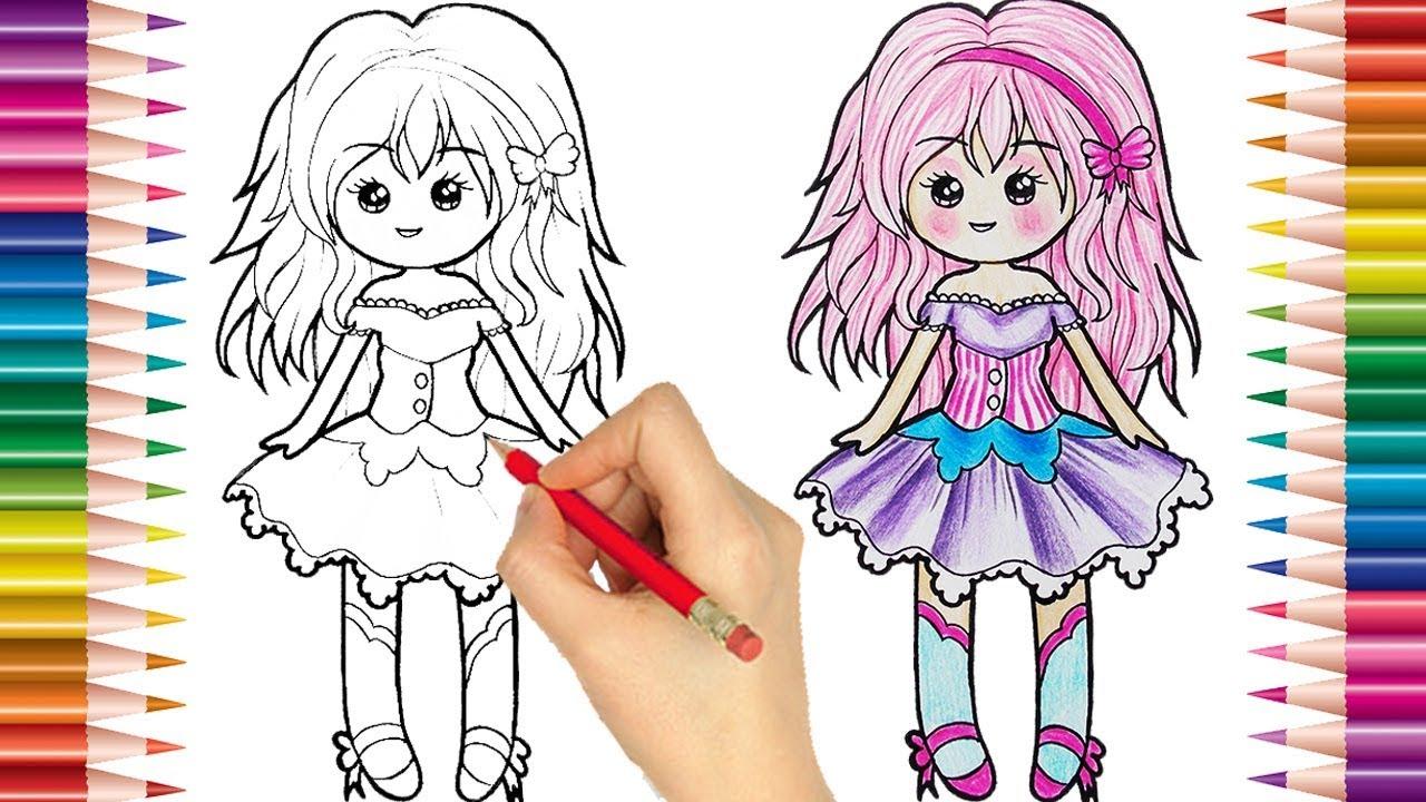 Como Desenhar E Colorir Uma Boneca Fofa Tumbler Desenhos Para Pintar Desenhos Para Crianças