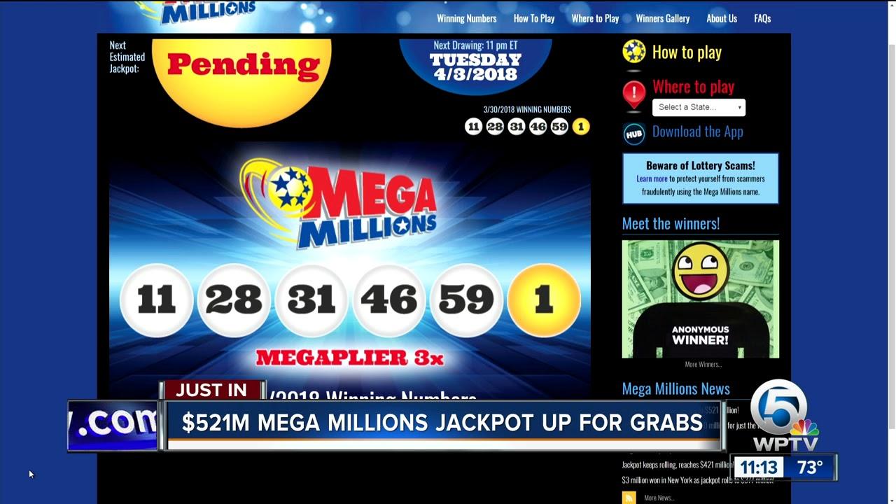 $521 million Mega Millions jackpot winning numbers drawn ...  $521 million Me...
