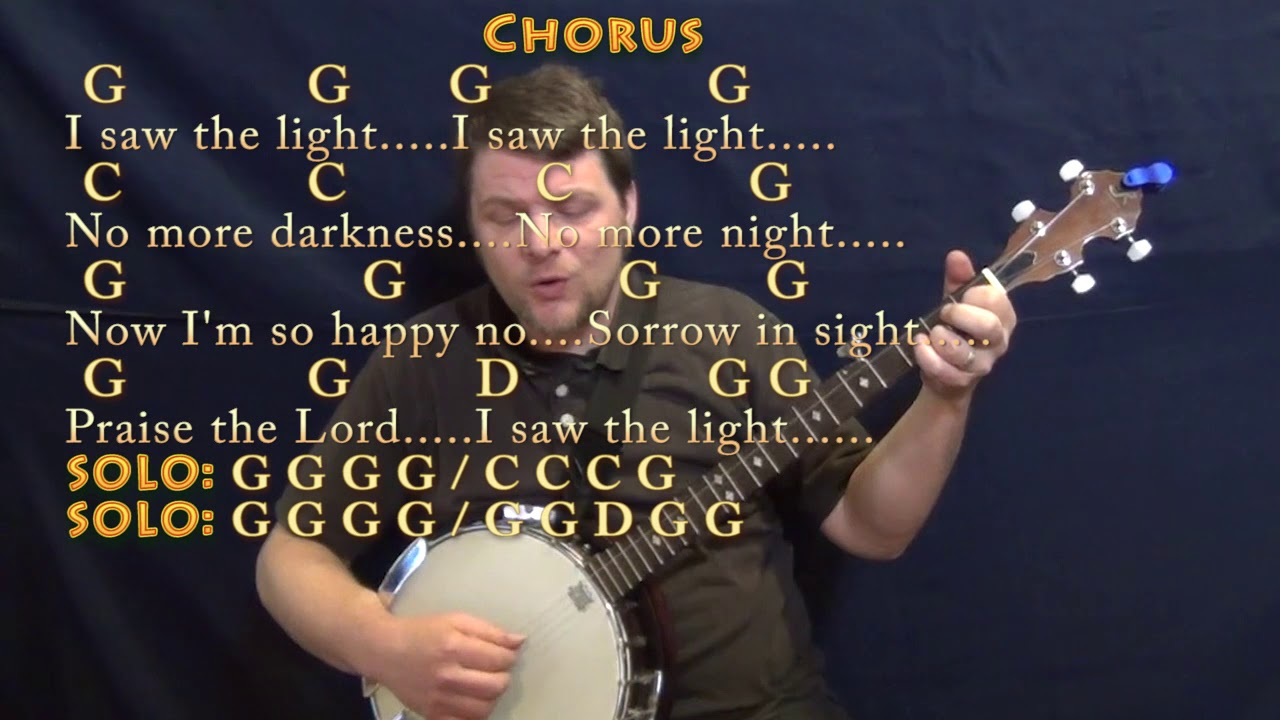 I Saw The Light Hank Williams Banjo Cover Lesson In G With Chords