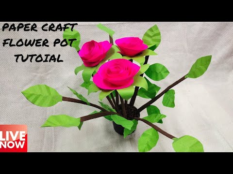 Easy Paper Flower Pot Craft Tutorial Recap | LIVE [🔴]