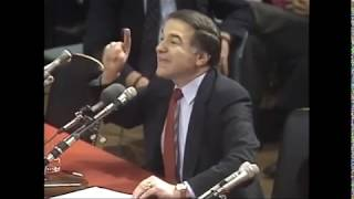 DioGuardi challenges Milosevic in Washington 1990 / Milosevic responds in the Hague Court 2002