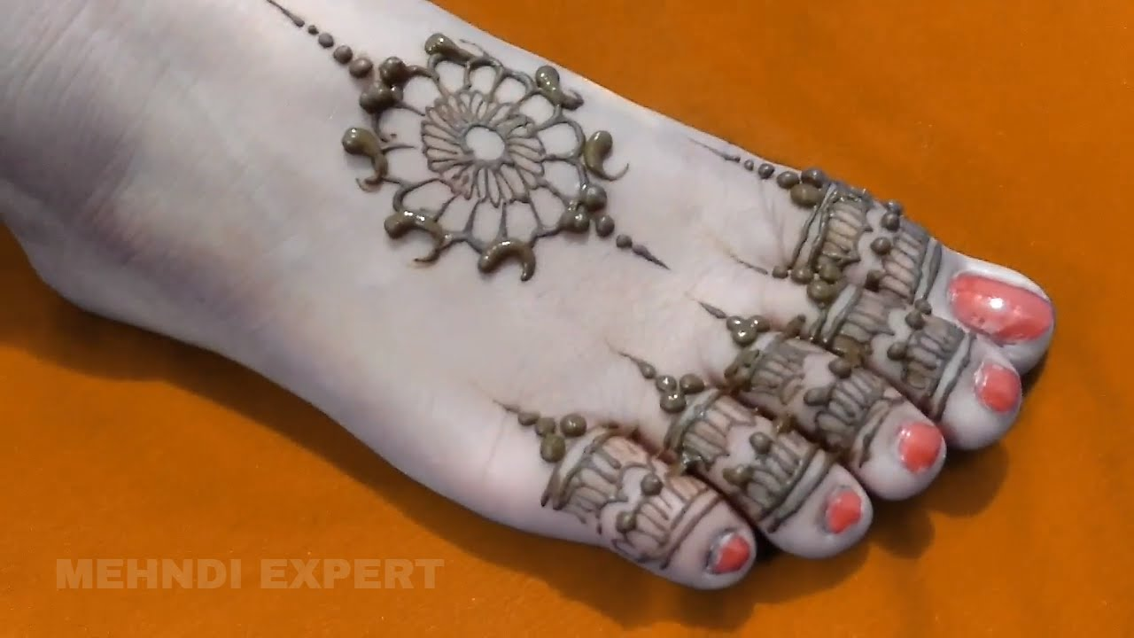 Leg Mehndi Designs Easy Only : Beautiful foot mehndi design leg henna simple and easy for all