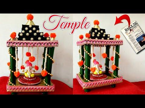 diy recycled newspaper temple at home ganesh mandap ganpati makhar