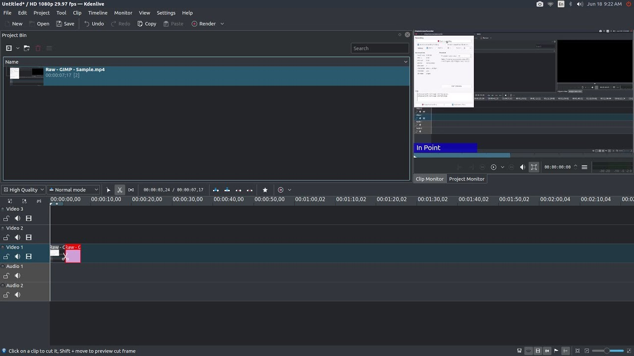 Kdenlive: How to Split a Clip on the Timeline - YouTube