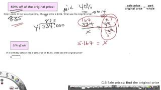 IXL Grade 6 G.6 Sale prices: find the original price(Using proportions and short division to find the original price with a percentage taken off., 2014-09-15T04:58:36.000Z)