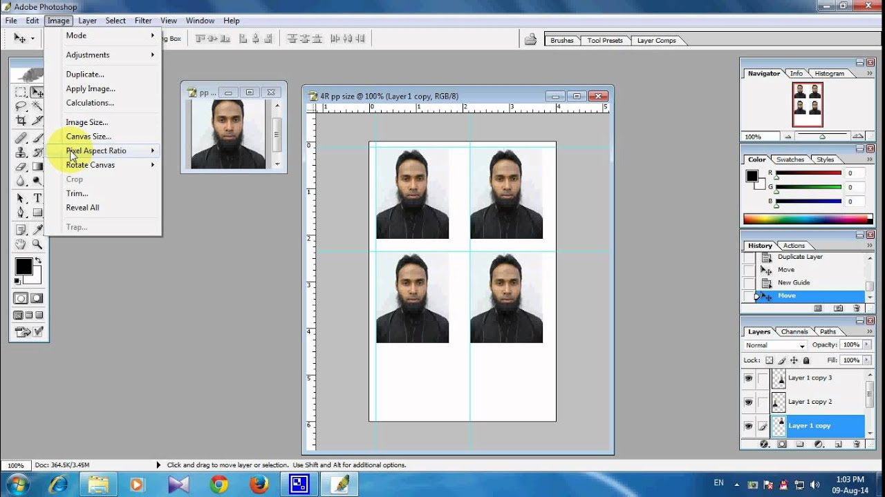 How To Make Passport Size Photo In 4r Size With Photoshop Youtube