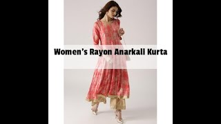 Women 39 s Rayon Anarkali Kurta ON Amazon