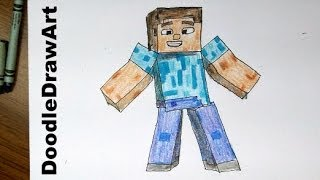 Drawing: How To Draw Steve  from Minecraft  [HD] - Easiest Way!  tip/trick