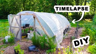 (TIMELAPSE) DIY High Tunnel Greenhouse