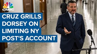 Senator ted cruz (r-texas) asks twitter ceo jack dorsey if he believes can influence elections and why they limited the new york post's accou...