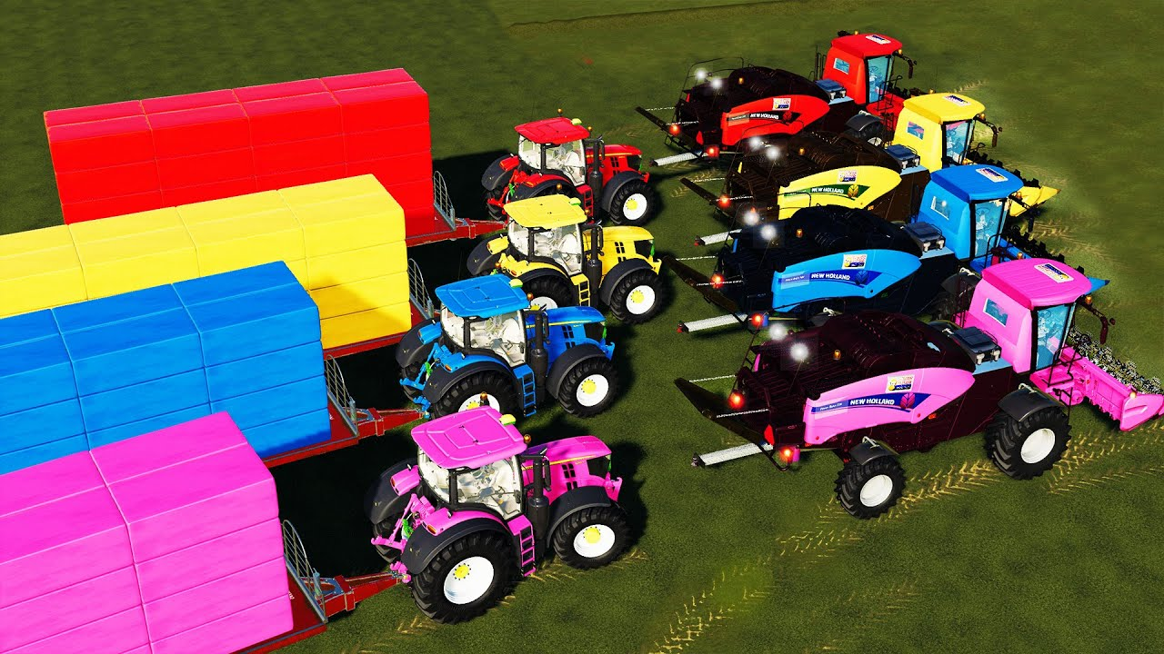 DIRECT CORN SILAGE MAKING with MULTICOLOR POWER KING BALER! COLORS FARM! Farming Simulator 19