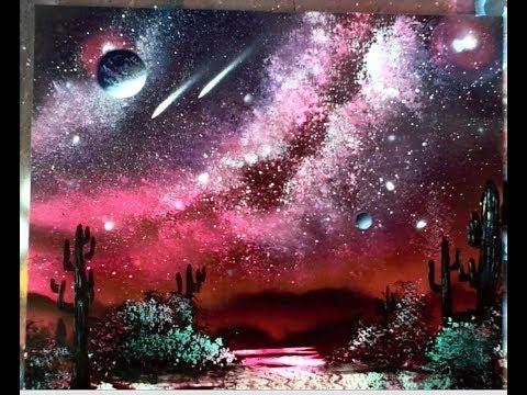 Desert cactus spray paint art galaxy full video 960 x 540