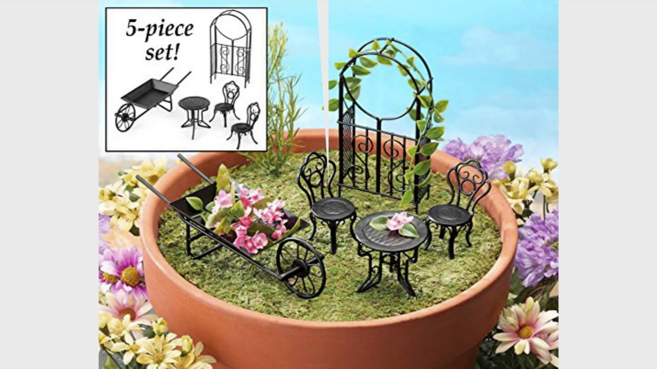Collections Etc Collectible Fairy Garden Furniture Set 5 Pc