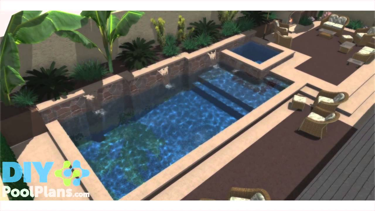 Swimming pool in small backyard youtube for Back garden swimming pool
