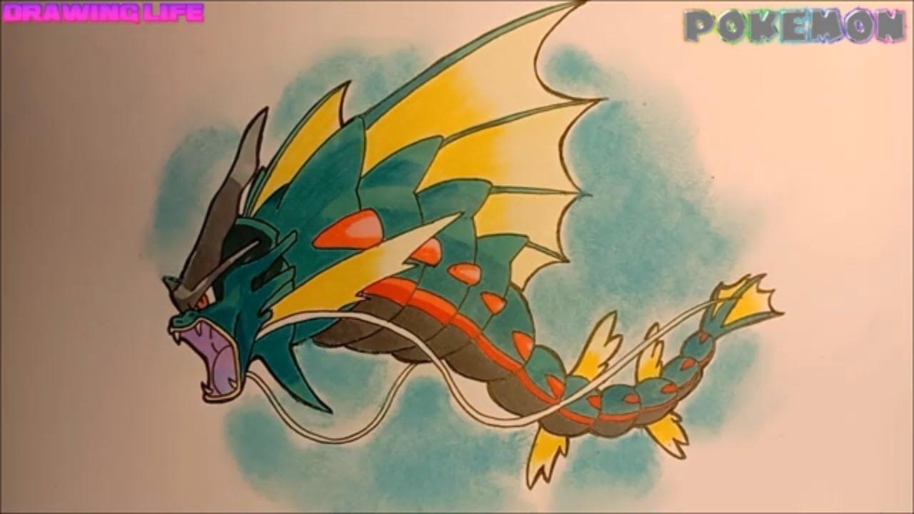 DRAWING POKEMON-cách vẽ Mega Gyarados pokemon quái vật biển cả