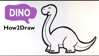 How to Draw a Dinosaur(Cute) - Diplodocus - Easy Pictures to Draw
