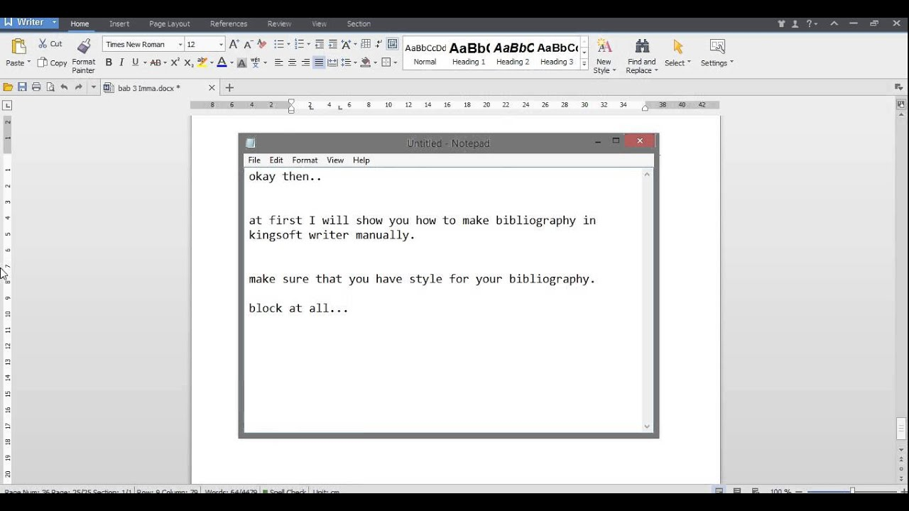 How To Make Bibliography In Kingsoft Writer Manually