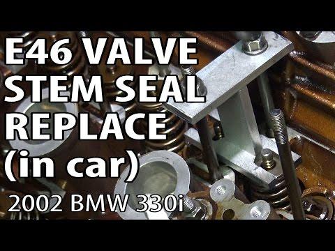 BMW E46 Replace Valve Stem Seals (head in car) DIY #m54rebuild 10
