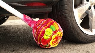 Crushing Crunchy & Soft Things by Car! - EXPERIMENT: LOLLIPOPS  vs CAR vs FOOD