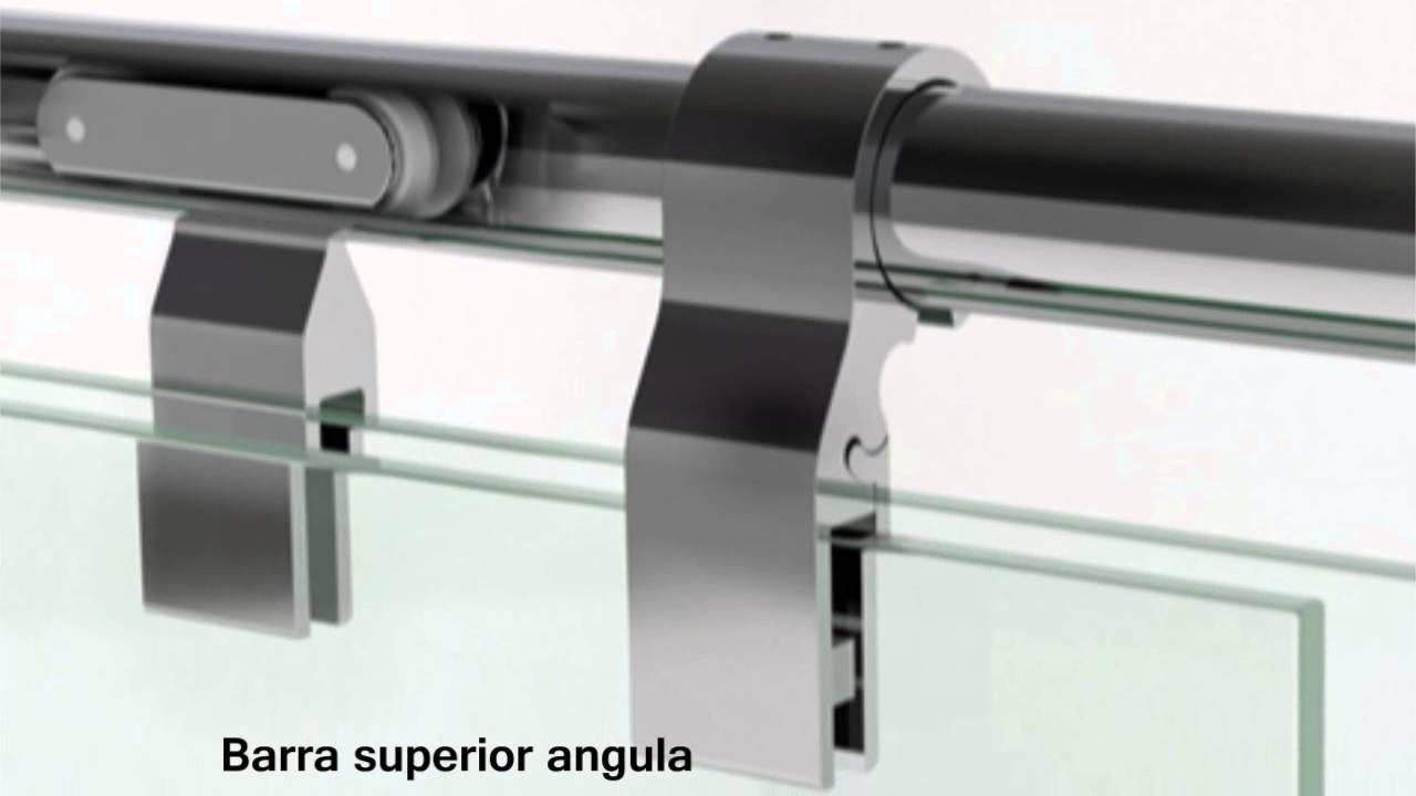 Mampara anna con puertas correderas youtube for Puertas para oficinas precios