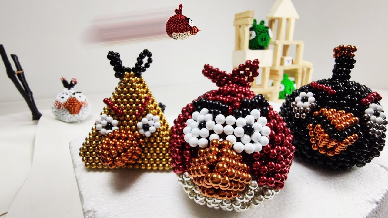 Angry Birds made of Magnetic Balls in Stop Motion | Magnetic Games