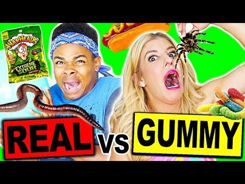 GUMMY FOOD VS REAL FOOD BALLOON POP CHALLENGE! (EATING A REAL TARANTULA) *NOT CLICKBAIT!!
