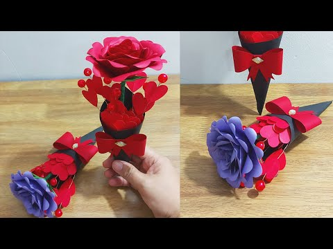 How to make paper rose flowers bouquet tutorial/Valentine's day gift/Birthday gift DIY/Paper crafts