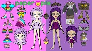 Paper Dolls Dress Up | Unicorn Dresses | Mother & Daughters | DIY Paper Quiet Book